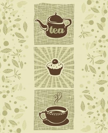 Retro illustration with teapot, cookie and teacup Ilustração