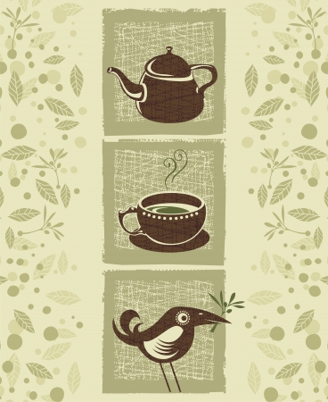 steam of a leaf: Retro illustration with teacup, teapot and cute bird Illustration