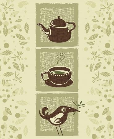 Retro illustration with teacup, teapot and cute bird Ilustração