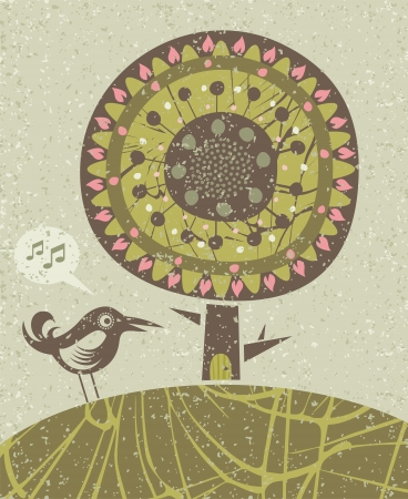 Decorative illustration with happy bird and tree
