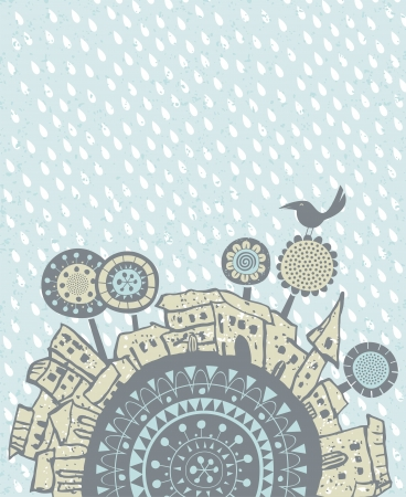 rural scene: Decorative illustration with falling rain over old city