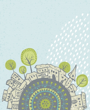 urban scene: Decorative illustration with summer rain falling over an old city