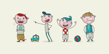 Set with funny cartoons of bad kids Vector