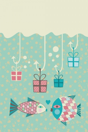 Card with happy fish couple, present boxes in fishing hooks and space for your text Vector