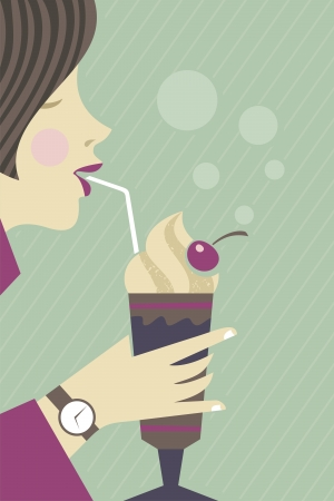 Young girl drinking chocolate milkshake with a straw Vector