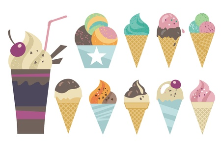 Sweet set with ice creams in various combinations Vector