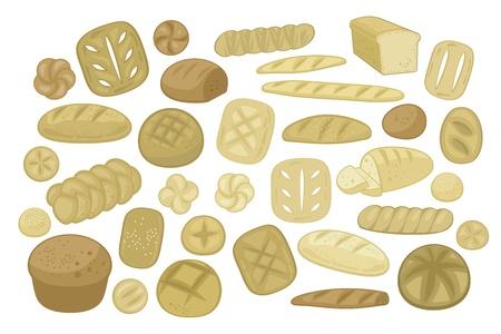pan frances: Set con diferentes tipos de pan, formas y especialidades Vectores