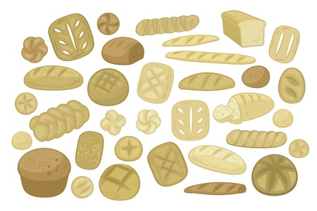 Set with various bread types, shapes and specialties Vector