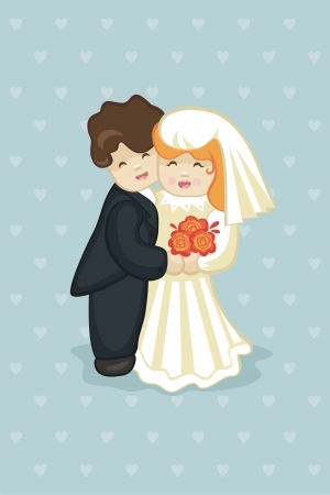 Cute cake newlyweds embracing each other Vector