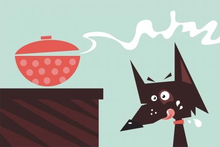 impatient: Caricature d'un chien bave veille sur repas fra�chement pr�par� Illustration