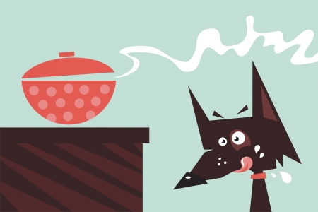tempt: Cartoon of a drooling dog watching over freshly cooked meal Illustration