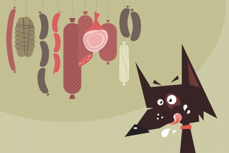 Cartoon of a drooling dog and hanged sausages