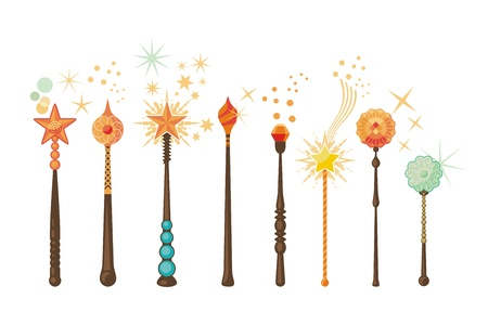 Decorative set with magic wands in various shapes