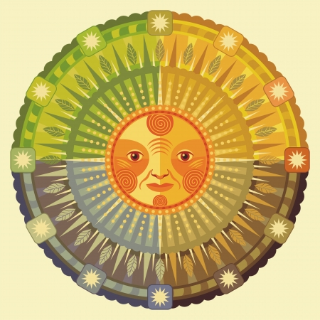 solstice: Decorative illustration of the four seasons and the Sun