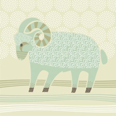 Decorative illustration of the Ram zodiac sign Vector