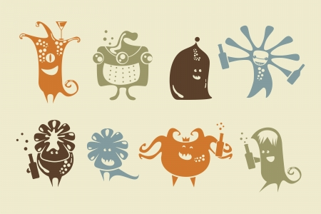 tipsy: Cartoon set with drinking happy little monsters