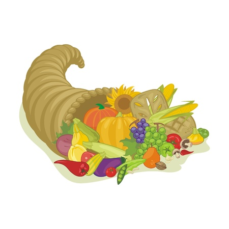 plenty: Abundance horn with various harvest fruits and vegetables Illustration