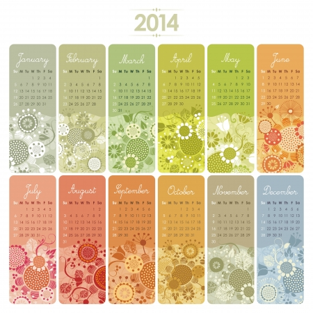 2014 Decorative calendar set with vertical banners or cards  Week starts on Sunday