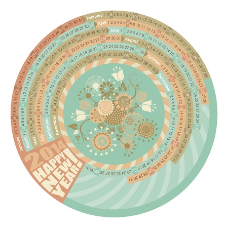 2014 Circular, spiral calendar with highlighted Mondays Vector