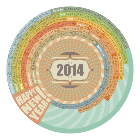 summer solstice: Circular, spiral 2014 calendar with highlighted Sundays