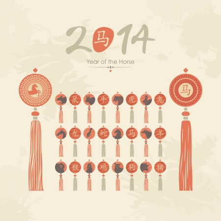 Chinese calendar tassels set with zodiac signs and pictograms