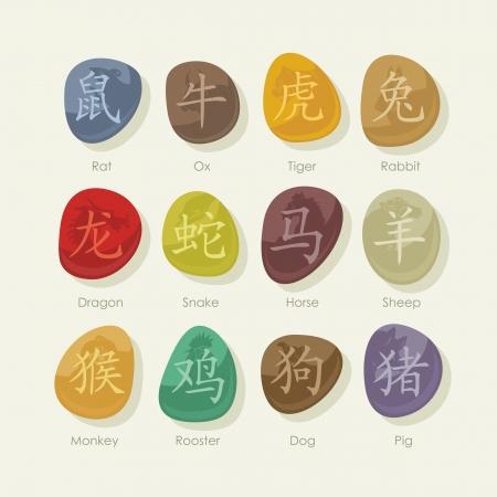 talismán: Piedras coloridas conjunto con los signos del zodíaco chino y pictogramas