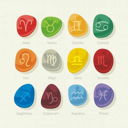 costellazioni: Sassi colorati con i dodici segni zodiacali e simboli Vettoriali