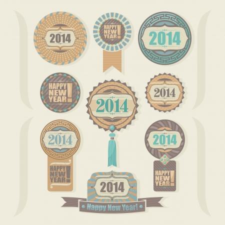 happy new year stamp: Feliz A�o Nuevo fijado para 2014 con cintas y etiquetas