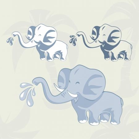 endangered: Baby elephant cartoon set on palm trees background