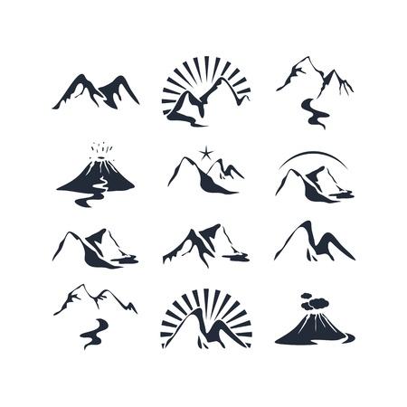 pico: Iconos conjunto con varias siluetas alpinos Vectores
