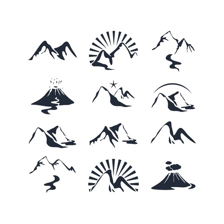 volcano: Icons set with various alpine silhouettes