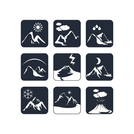 atmospheric phenomena: Mountain weather icons set with various atmospheric phenomena Illustration