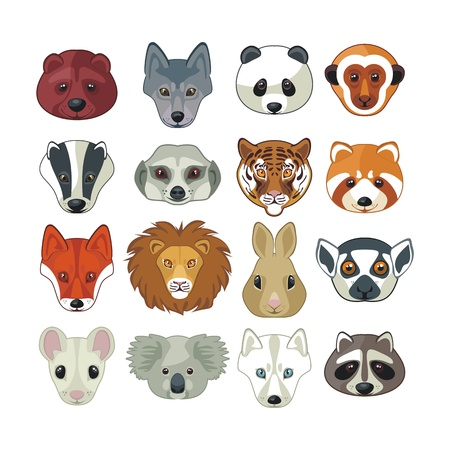 badger: Set with heads of various wild animals Illustration