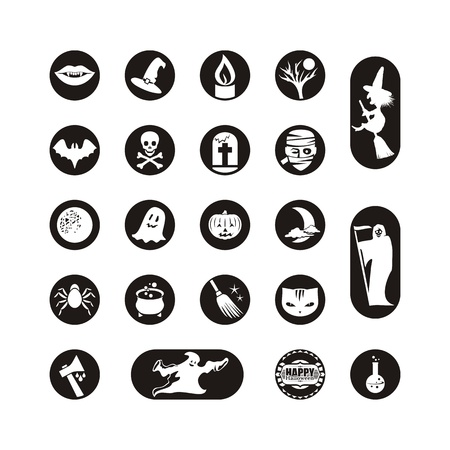 Icons or labels set with various Halloween symbols Vector
