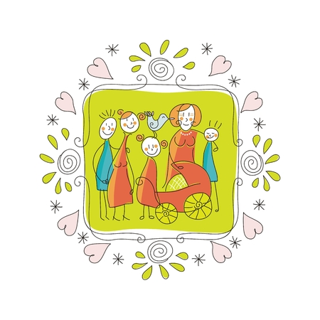 Cute doodle frame with happy family members Vector