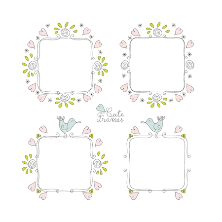 Doodle cute frames set with space for text
