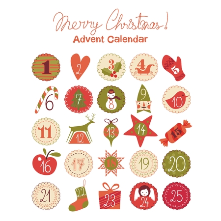 Advent calendar with various seasonal objects and symbols Иллюстрация