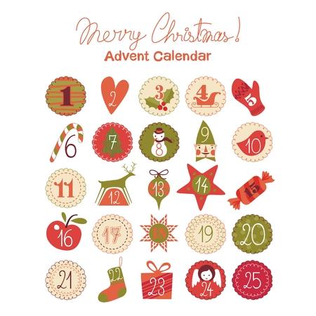 Calendario dell'Avvento con vari oggetti di stagione e simboli