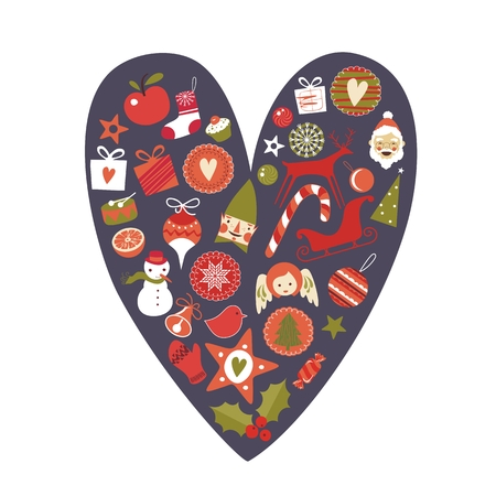 Cute, decorative Christmas heart with various seasonal objects and symbols Vector
