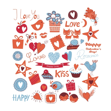 Love set with various romantic symbols and objects Vector