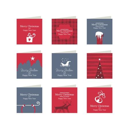 christmas gift box: Mini cards or tags set with Christmas theme Illustration