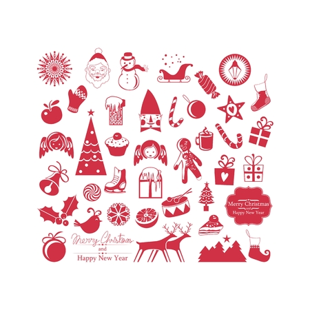 Christmas set with various symbols and objects Vector