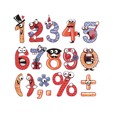 Funny, crazy numbers set with party theme