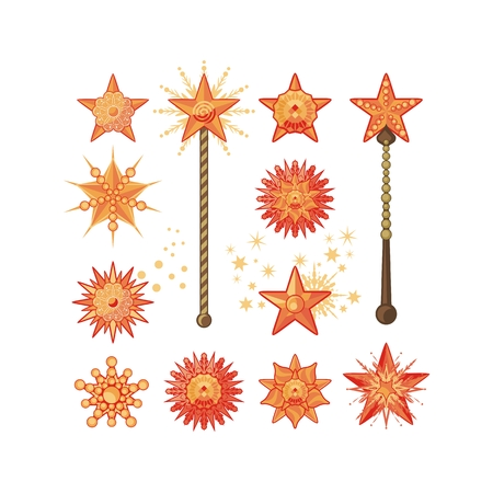 knickknack: Festive set with decorative shapes of stars or magic wands Illustration