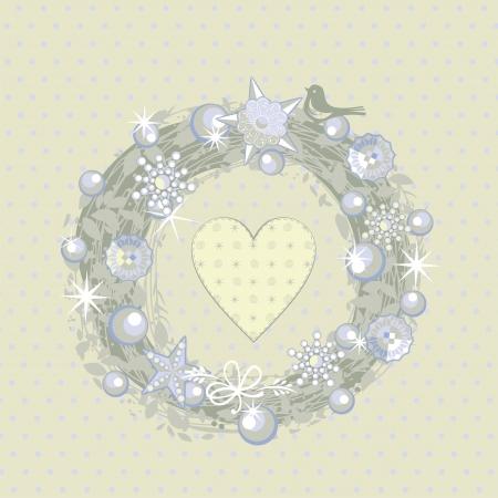 corona de adviento: Decorativo corona de Navidad sobre fondo de lunares