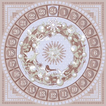 Christmas Advent round calendar with decorative wreath