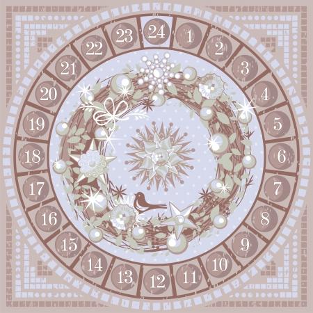 sacra famiglia: Natale Calendario dell'Avvento rotonda con corona decorativa Vettoriali