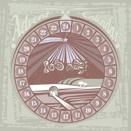 advent calendar: Retro Christmas Advent round calendar with the Nativity symbolical scene