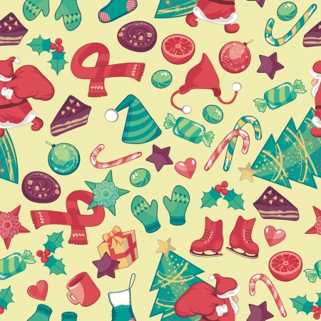 Christmas seamless pattern with assorted seasonal objects Vector