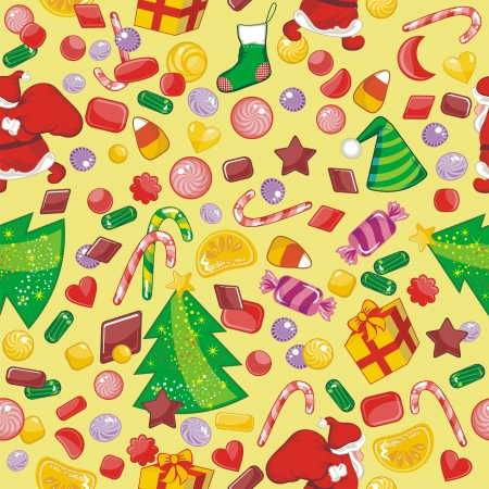 Christmas seamless pattern with candies and seasonal objects Vector